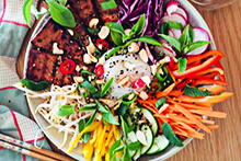 Vietnamese Sticky Tofu with Rainbow Veggie Noodle Bowl