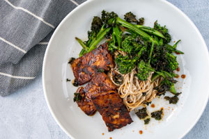 Honey Soy Tempeh Soba Noodle Salad