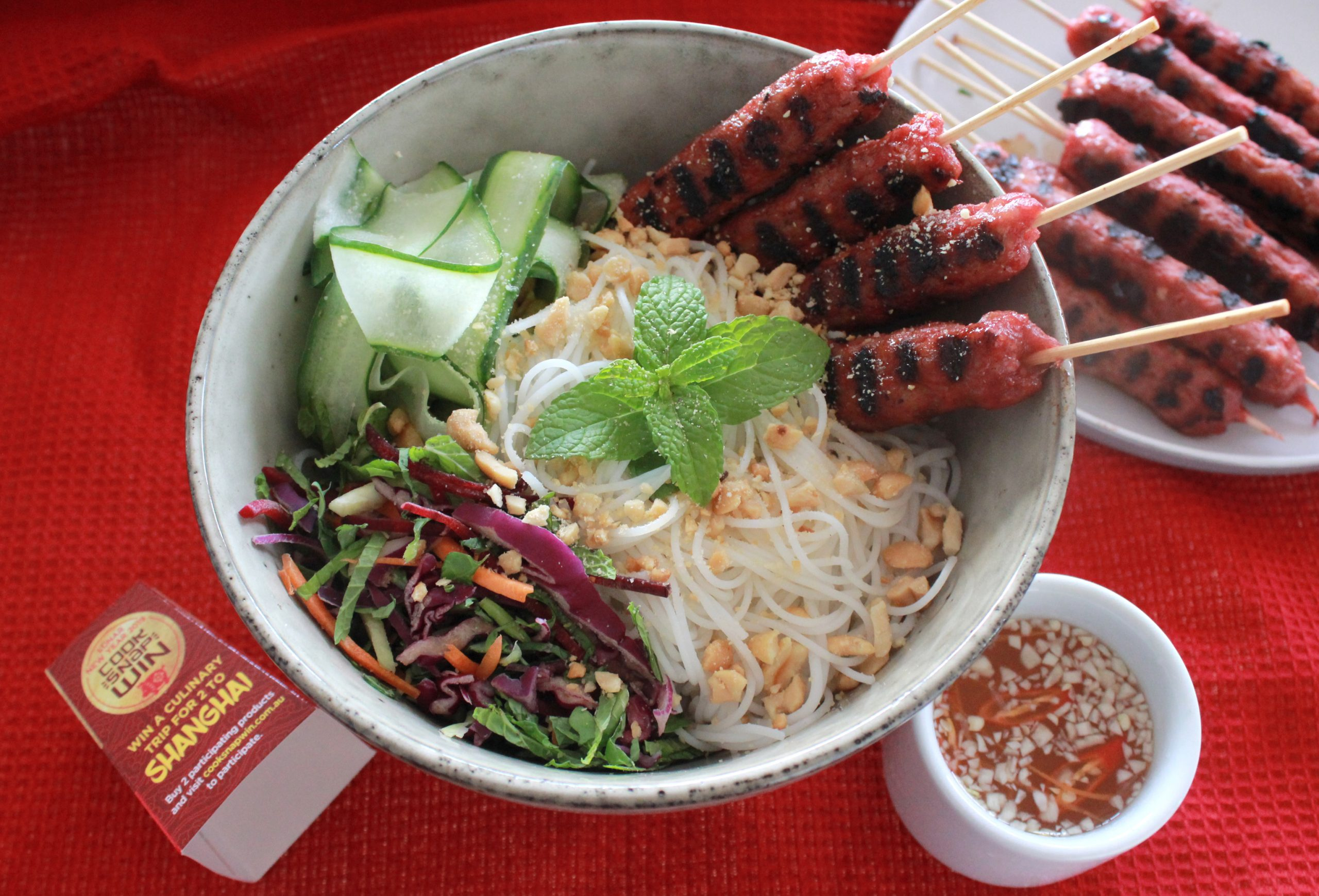 Bun Nem Nuong with Nuoc Cham (Special Vermicelli & grilled vietnamese pork skewers with dipping fish sauce)