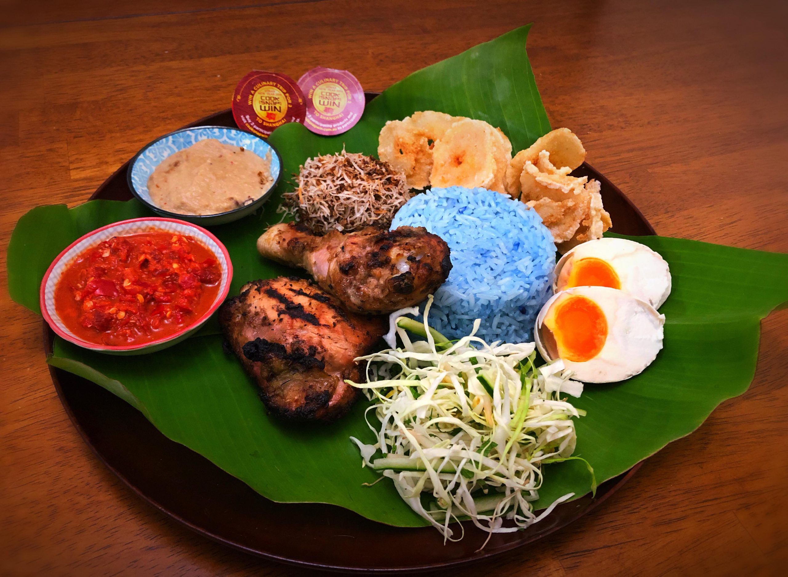 Ayam Percik (BBQ Spiced Chicken) & Nasi Kerabu (Herb Rice Salad)